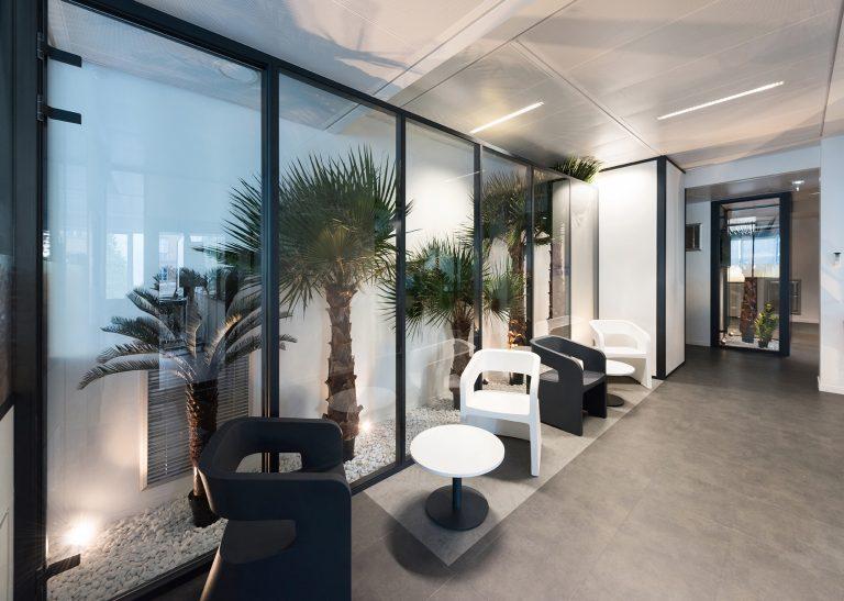 Salle de pause Webitech avec palmier